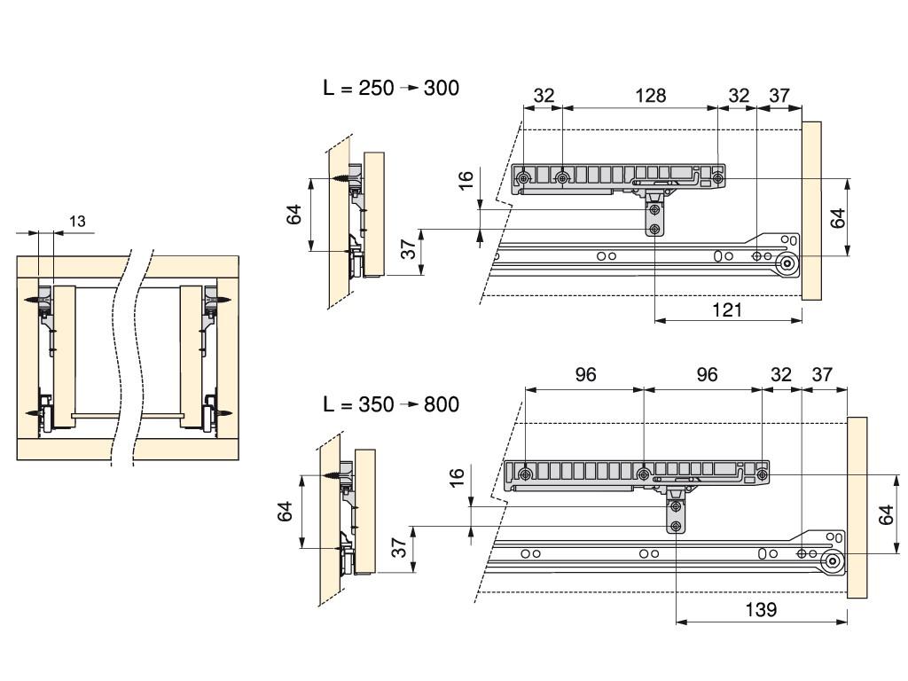 BLAŽILEC ZA MEHKO ZAPIRANJE METALBOX PREDALOV 350-500mm
