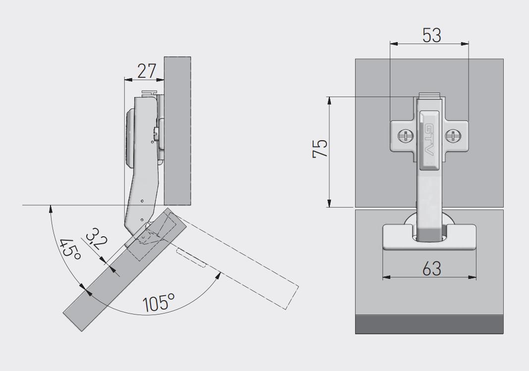 SPONE ODMIČNE 45° GTV PRESTIGE Mehko zapiranje