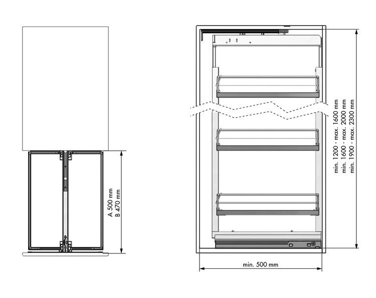 IZVLEČNA KOLONA M&C EL.400 Viš. 1600-2000mm (4xkošara)