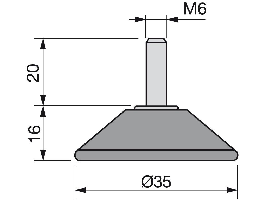 NOGICA NIVELIRNA M6x36 D-35 ČRNA